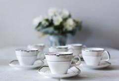 Сервиз за кафе Сребрист кант