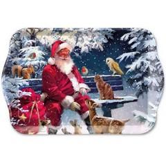 Поднос Santa On Bench