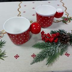 Чаша за чай червена с бели точки