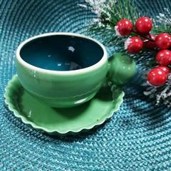 Чаша за кафе с чинийка зелена