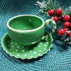 Чаша за кафе с чинийка зелена бастунче
