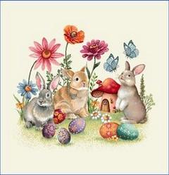 Декоративна калъфка Зайчета с яйчица