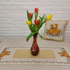 Великденска калъфка жакард Жълти патета
